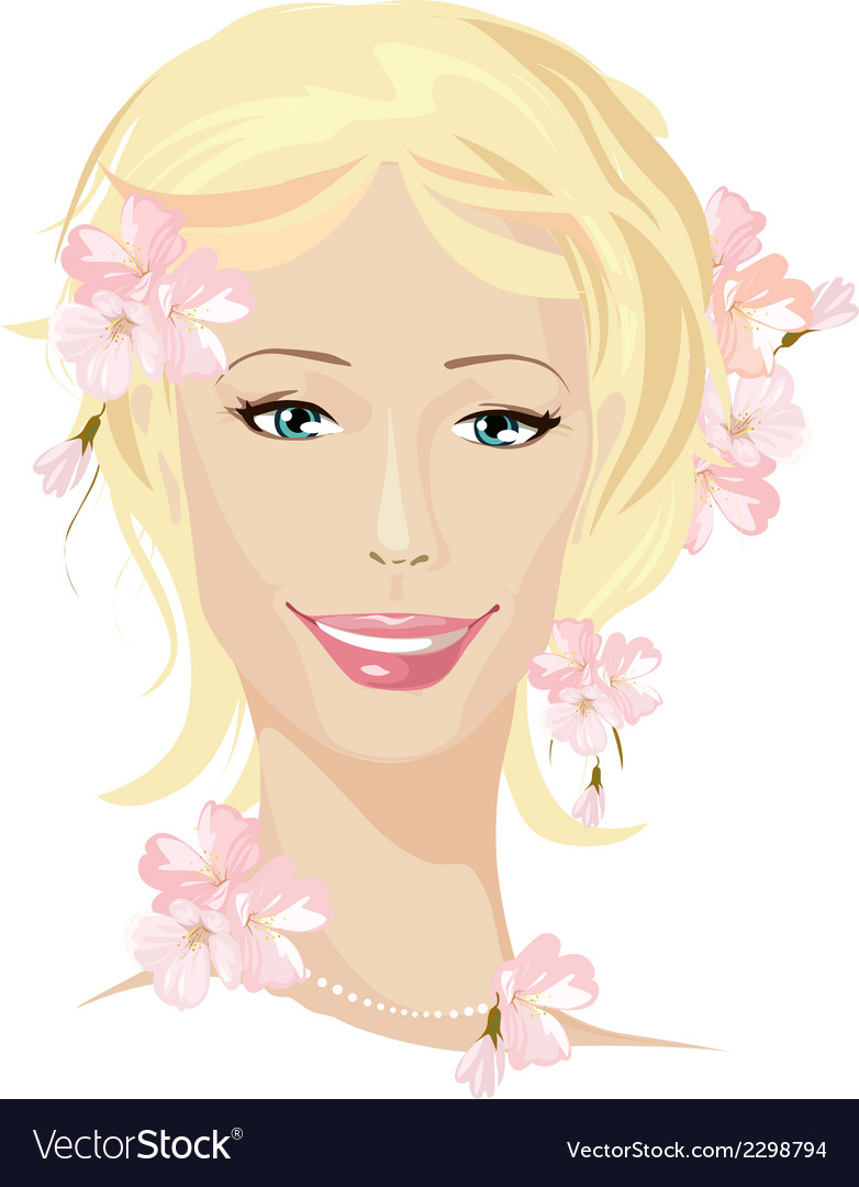 Spring beautiful woman portrait vector | Price: 1 Credit (USD $1)