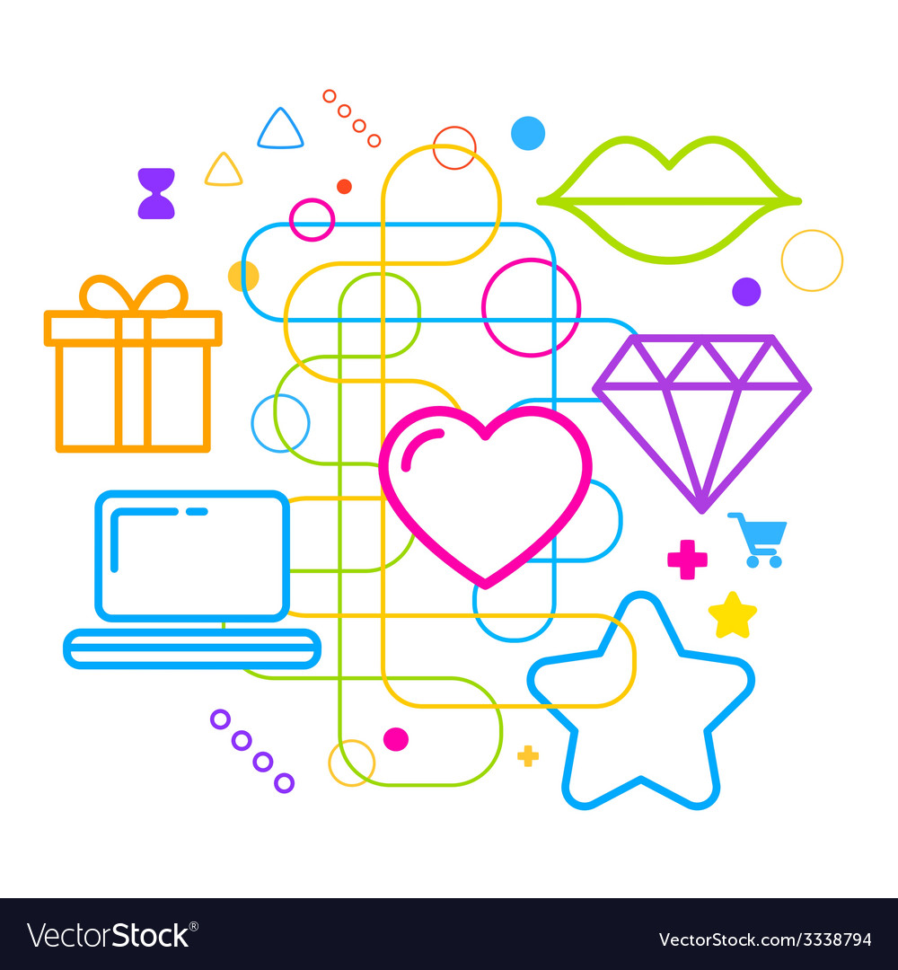 Symbols of choosing a gift via the internet on vector | Price: 3 Credit (USD $3)