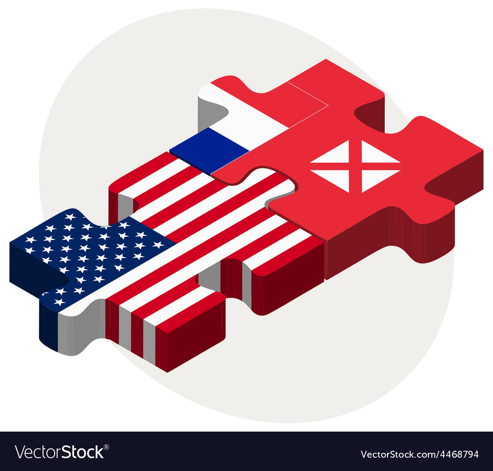 Usa and wallis and futuna flags in puzzle vector | Price: 1 Credit (USD $1)