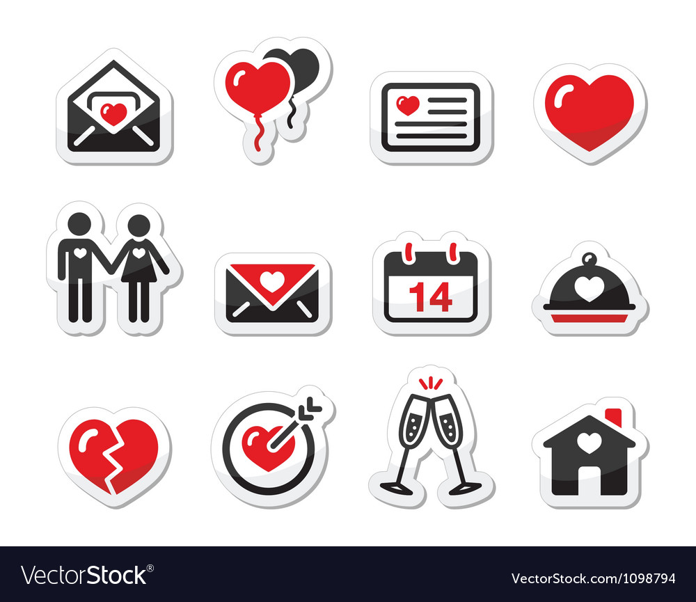 Valentines day love icons set as labels vector | Price: 1 Credit (USD $1)