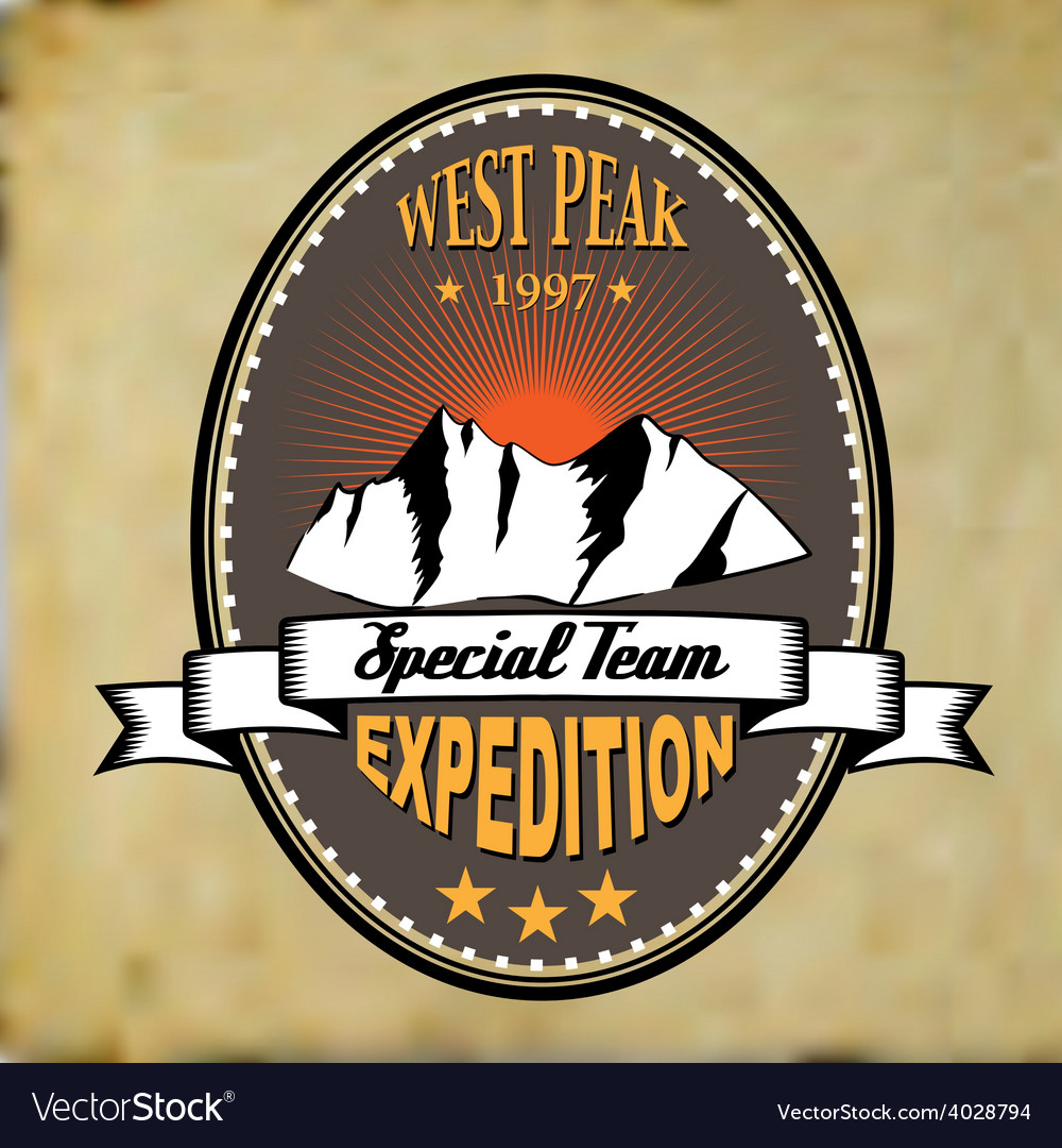 West peak badge vintage vector | Price: 1 Credit (USD $1)