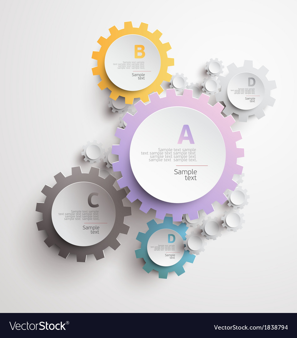White and color gears vector | Price: 1 Credit (USD $1)
