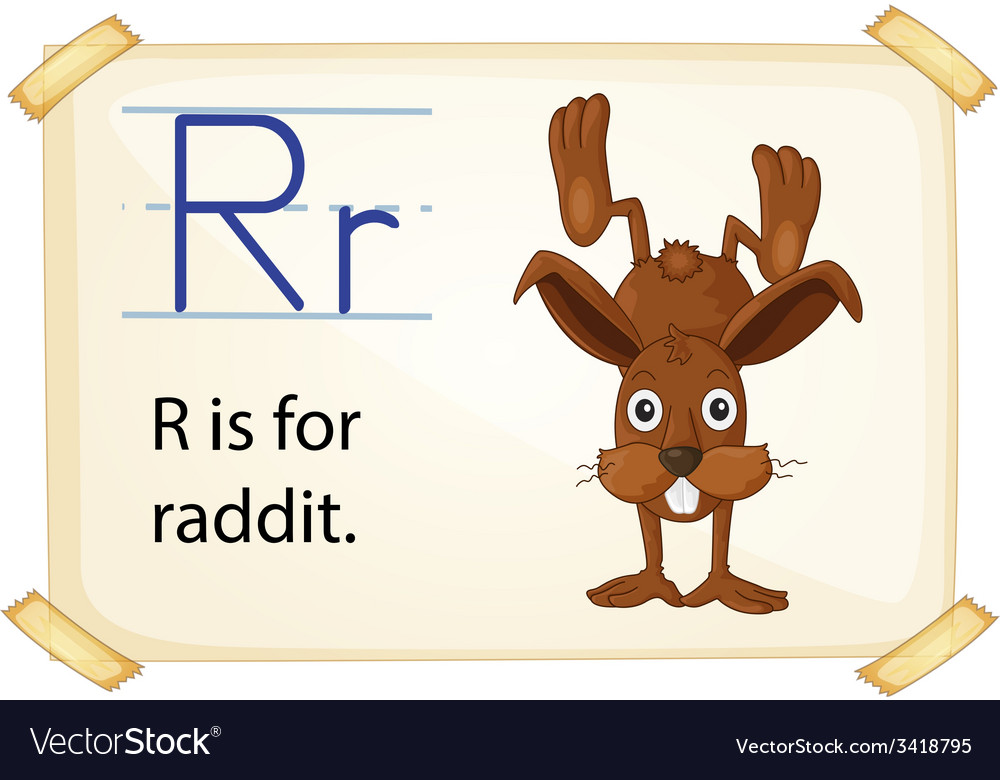 A letter r for rabbit vector | Price: 1 Credit (USD $1)