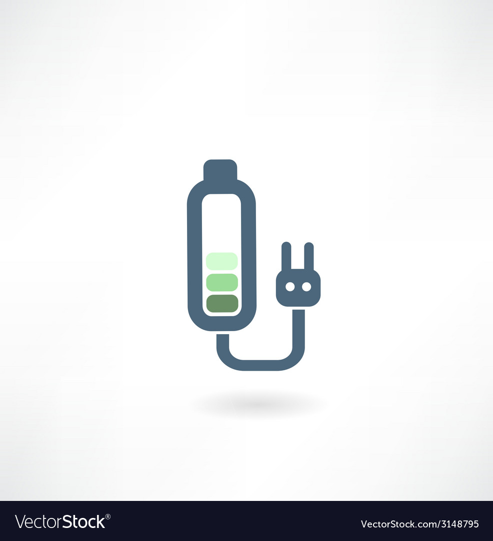 Battery with a plug from the outlet icon vector   Price: 1 Credit (USD $1)