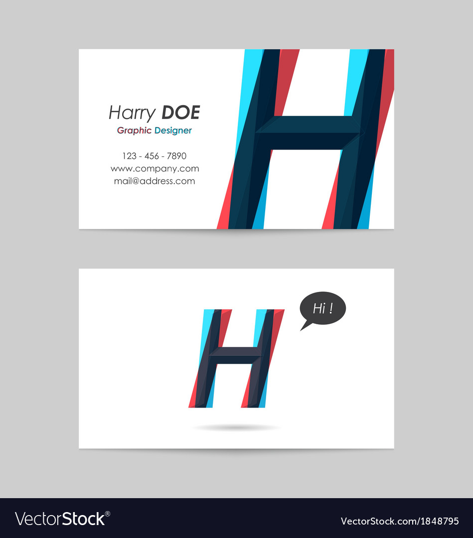 Business card template - letter h vector | Price: 1 Credit (USD $1)