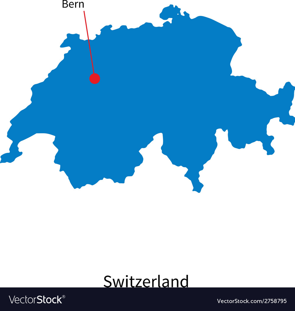 Detailed map of switzerland and capital city bern vector | Price: 1 Credit (USD $1)