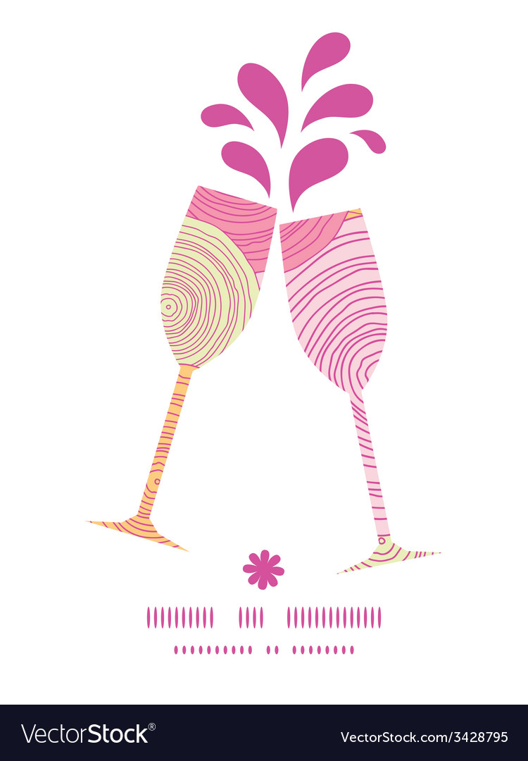 Doodle circle texture toasting wine glasses vector | Price: 1 Credit (USD $1)