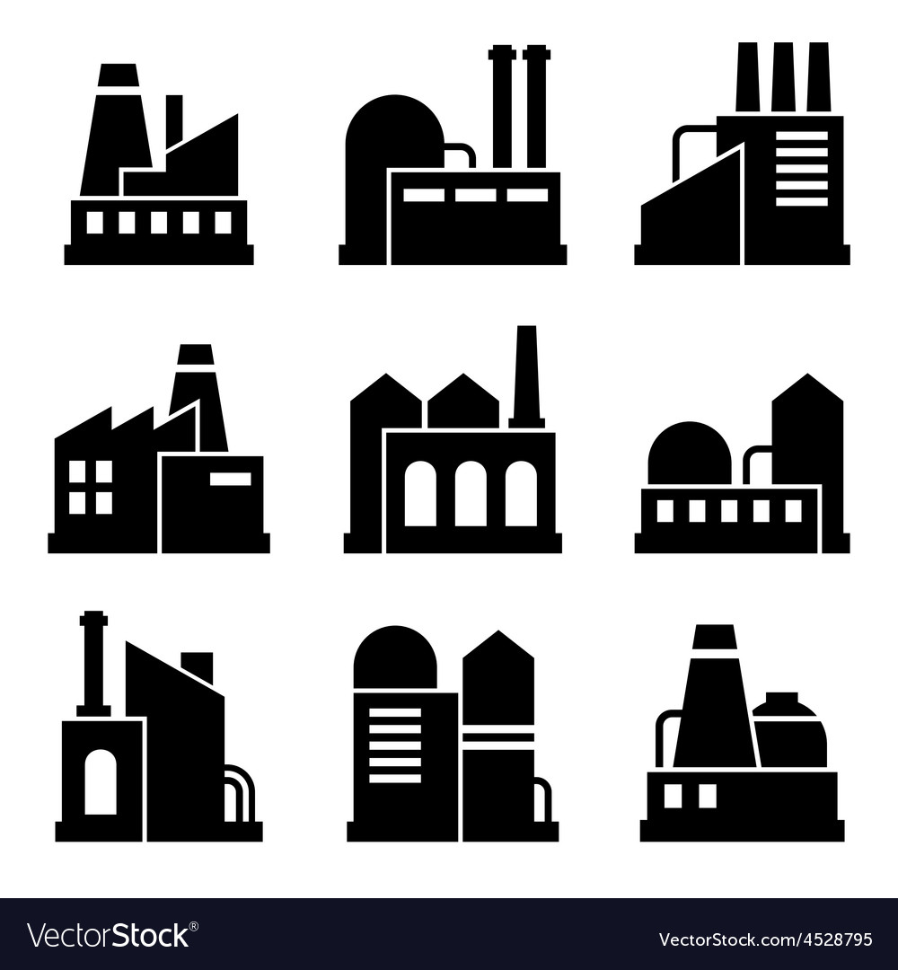 Factory and power industrial building icon set vector | Price: 1 Credit (USD $1)