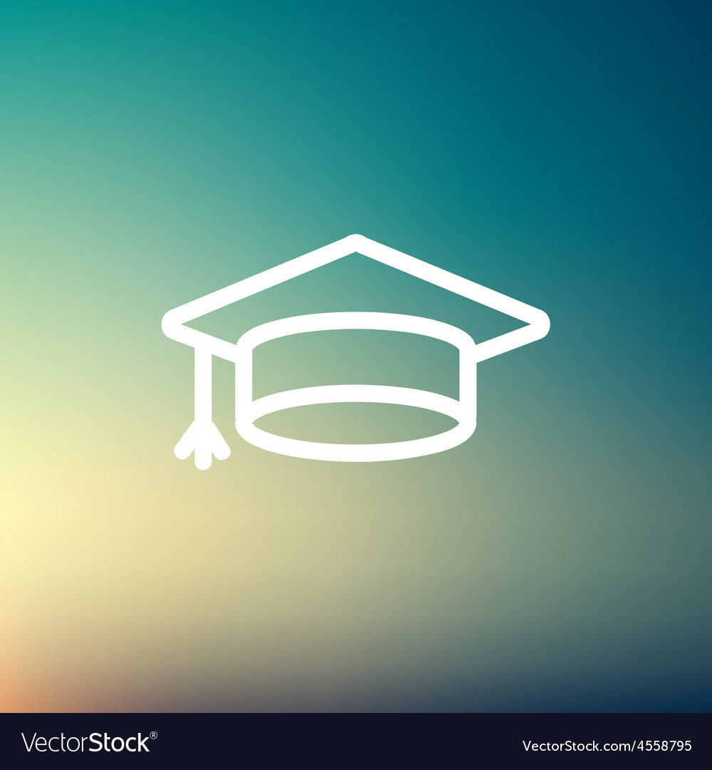 Graduation cap thin line icon vector | Price: 1 Credit (USD $1)