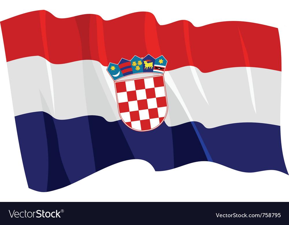 Political waving flag of croatia vector | Price: 1 Credit (USD $1)