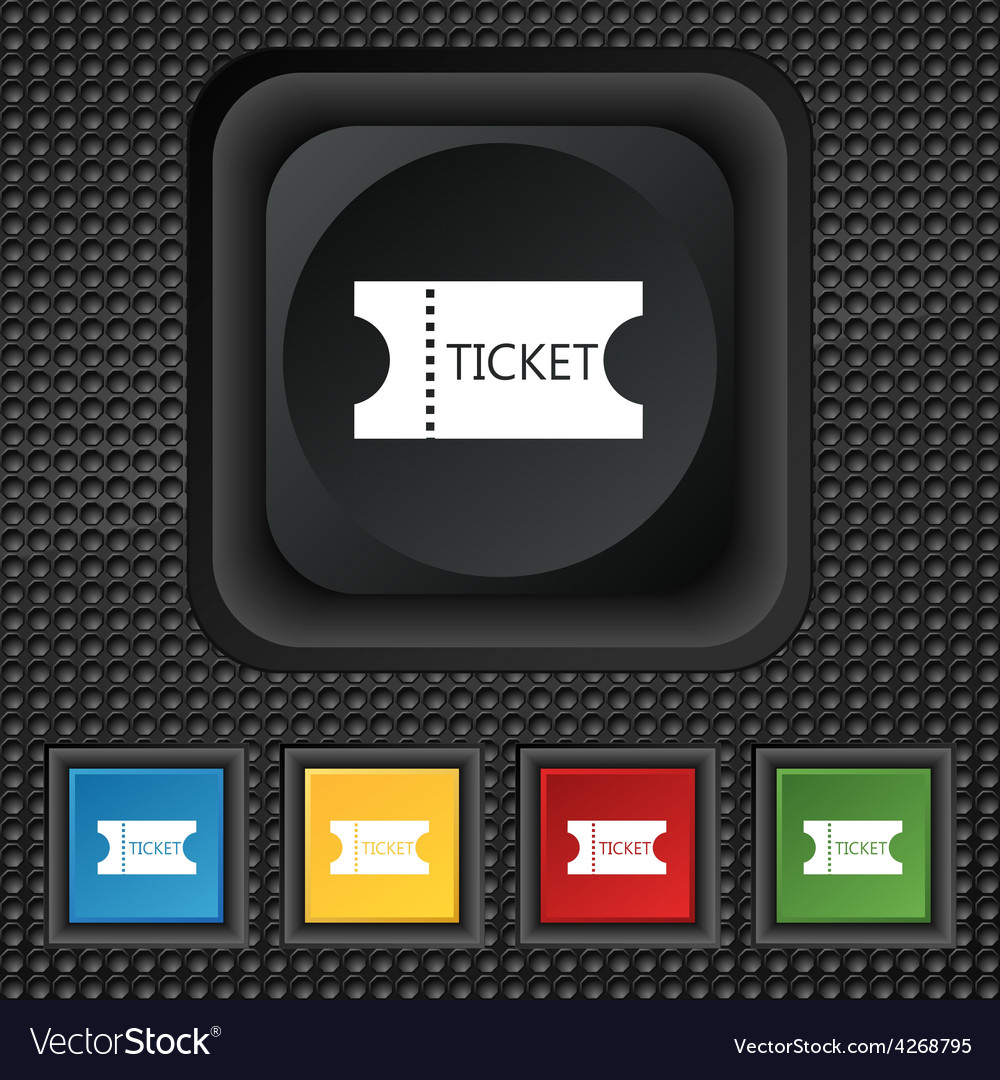 Ticket icon sign symbol squared colourful buttons vector | Price: 1 Credit (USD $1)