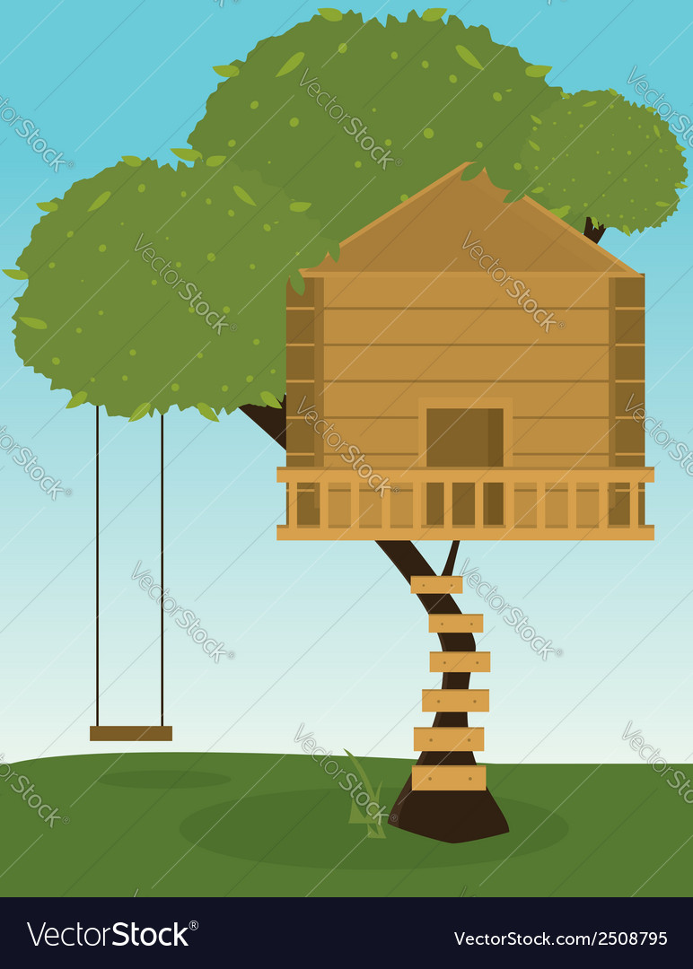 Tree house with swing vector | Price: 1 Credit (USD $1)