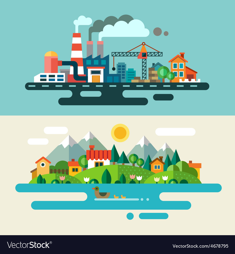 Urban and village landscape vector | Price: 3 Credit (USD $3)
