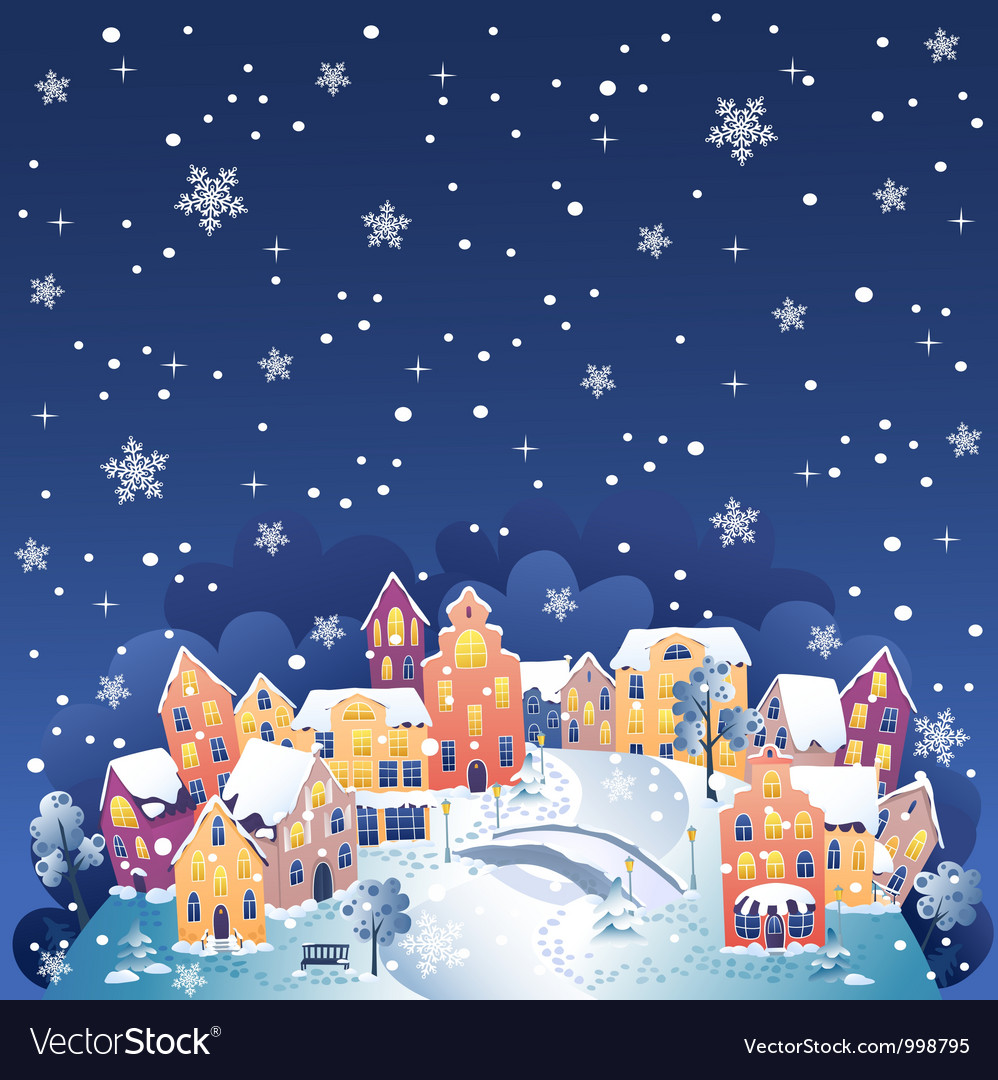 Winter night town vector | Price: 1 Credit (USD $1)
