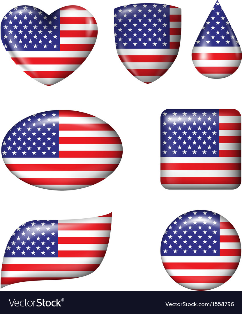 American flag in various shape glossy button vector | Price: 1 Credit (USD $1)