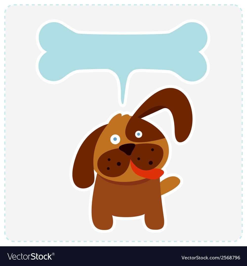 Cute dog with bone shape speech bubble vector | Price: 1 Credit (USD $1)