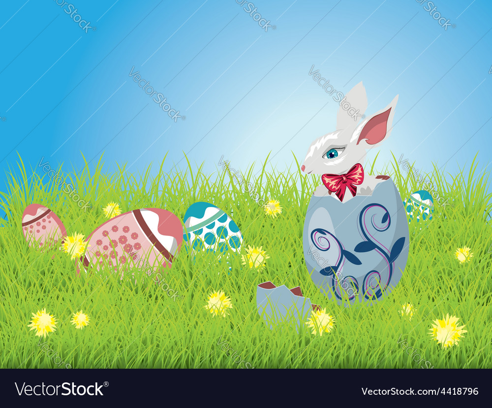 Easter bunny and grass field vector | Price: 1 Credit (USD $1)