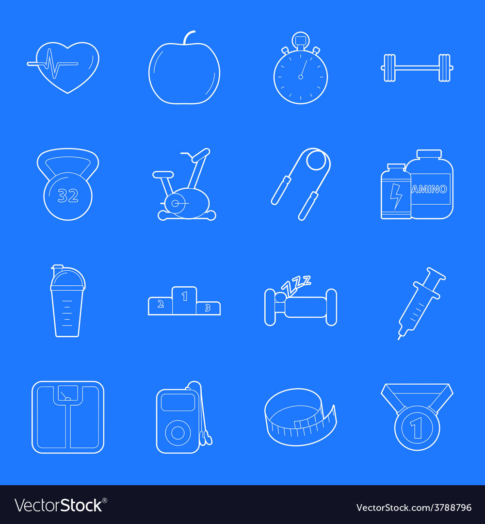 Fitness and gym thin lines icons set vector | Price: 1 Credit (USD $1)