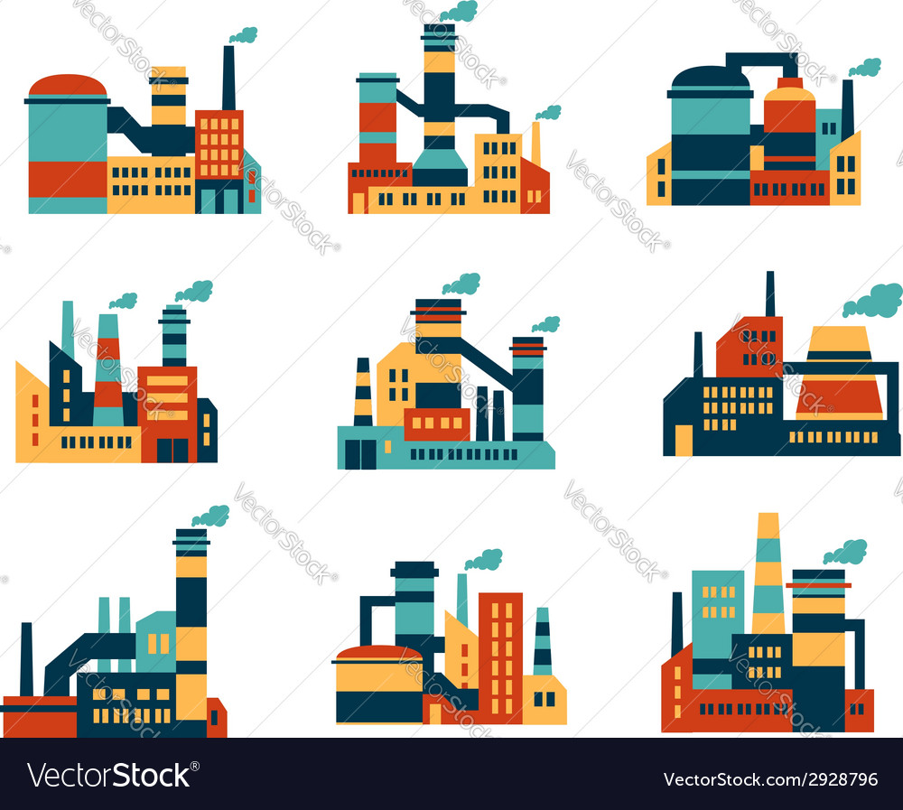 Flat industrial buildings and factories icons vector | Price: 1 Credit (USD $1)