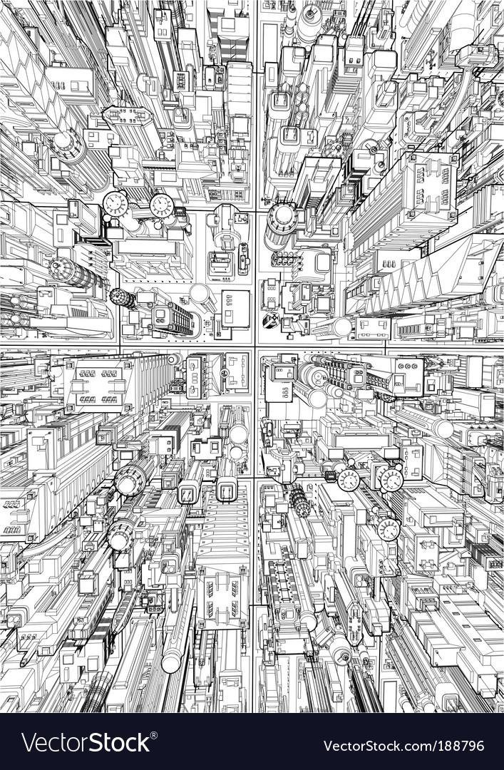 Futuristic city wireframe vector | Price: 1 Credit (USD $1)