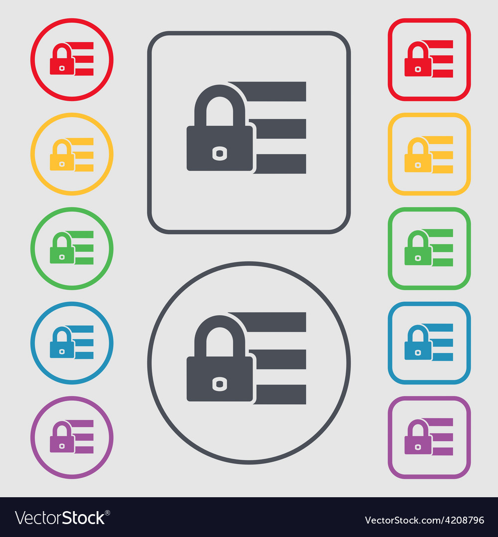 Lock login icon sign symbol on the round and vector | Price: 1 Credit (USD $1)