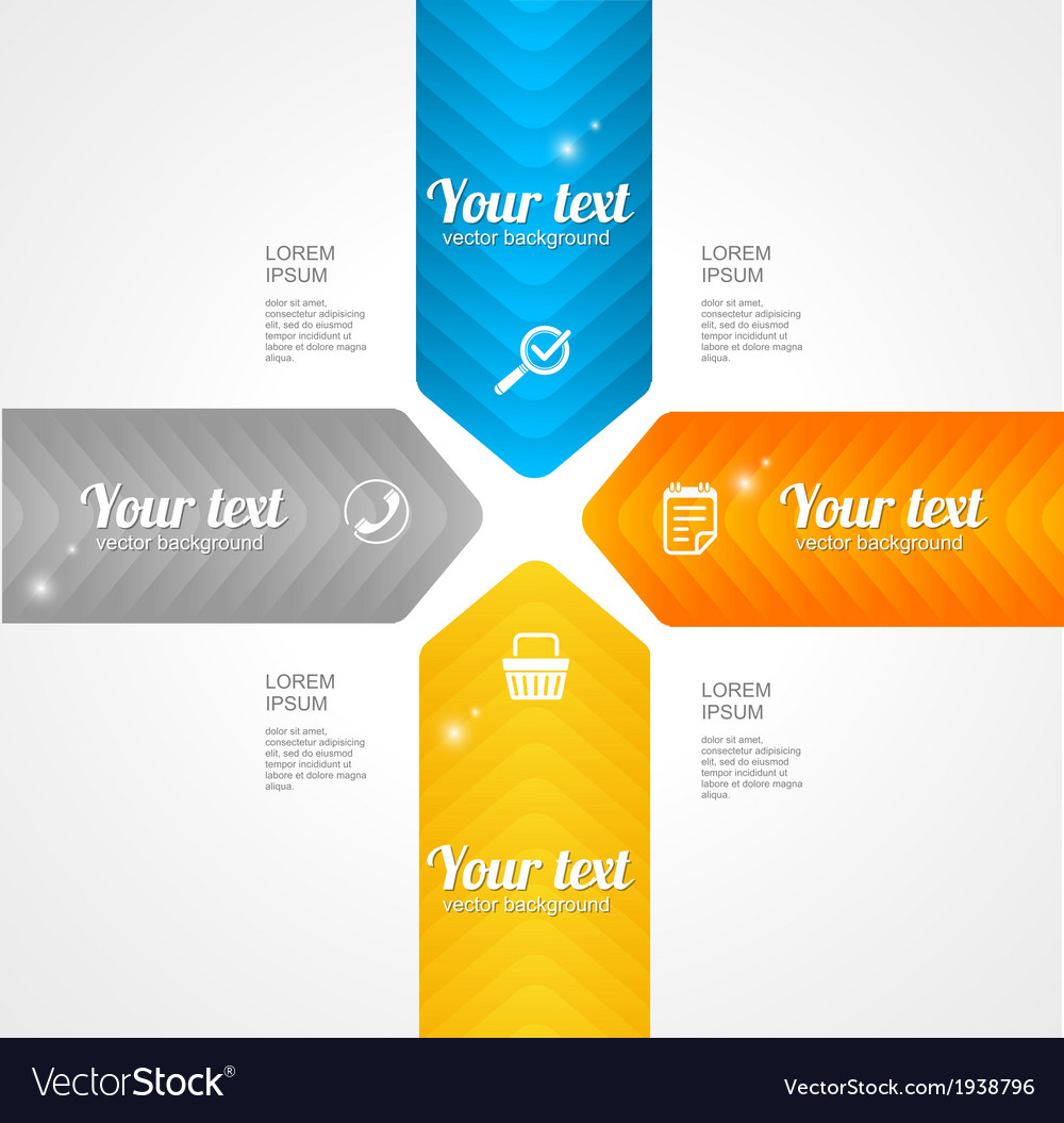 Modern glossy infographics options arrow banner vector | Price: 1 Credit (USD $1)