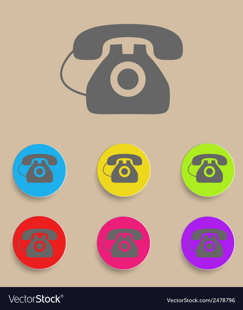 Old phone icons with color variations vector | Price: 1 Credit (USD $1)