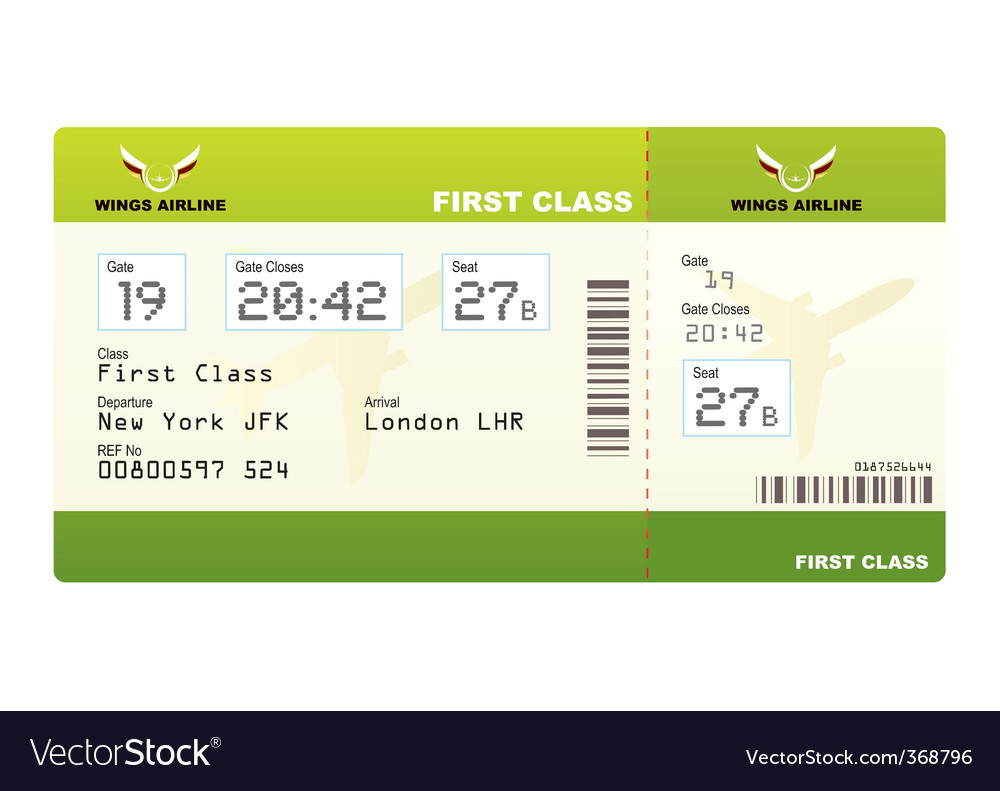 Plane ticket first class green vector | Price: 1 Credit (USD $1)