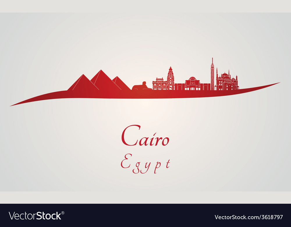 Cairo skyline in red vector | Price: 1 Credit (USD $1)