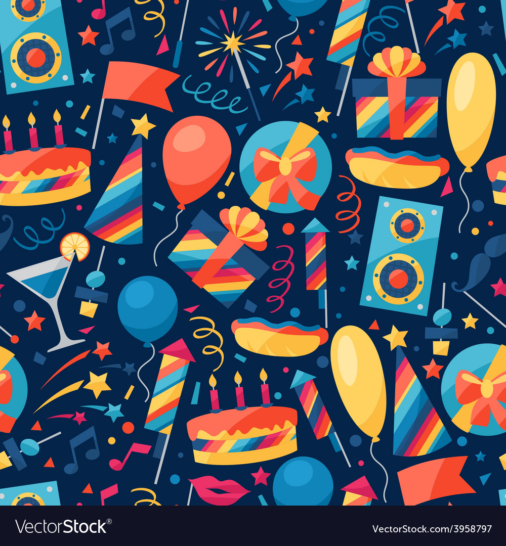Celebration seamless pattern with party icons and vector | Price: 1 Credit (USD $1)
