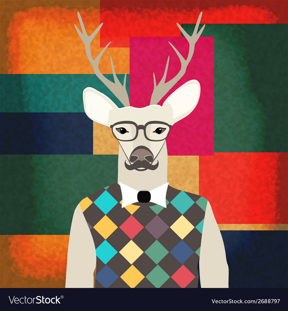 Deer hipster vector | Price: 1 Credit (USD $1)