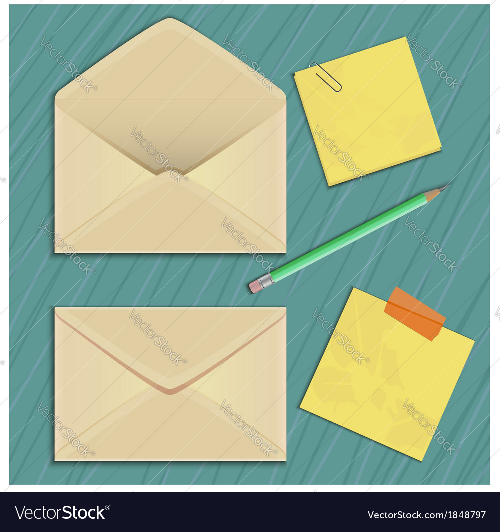 Envelope sticker and pencil eps10 vector | Price: 1 Credit (USD $1)