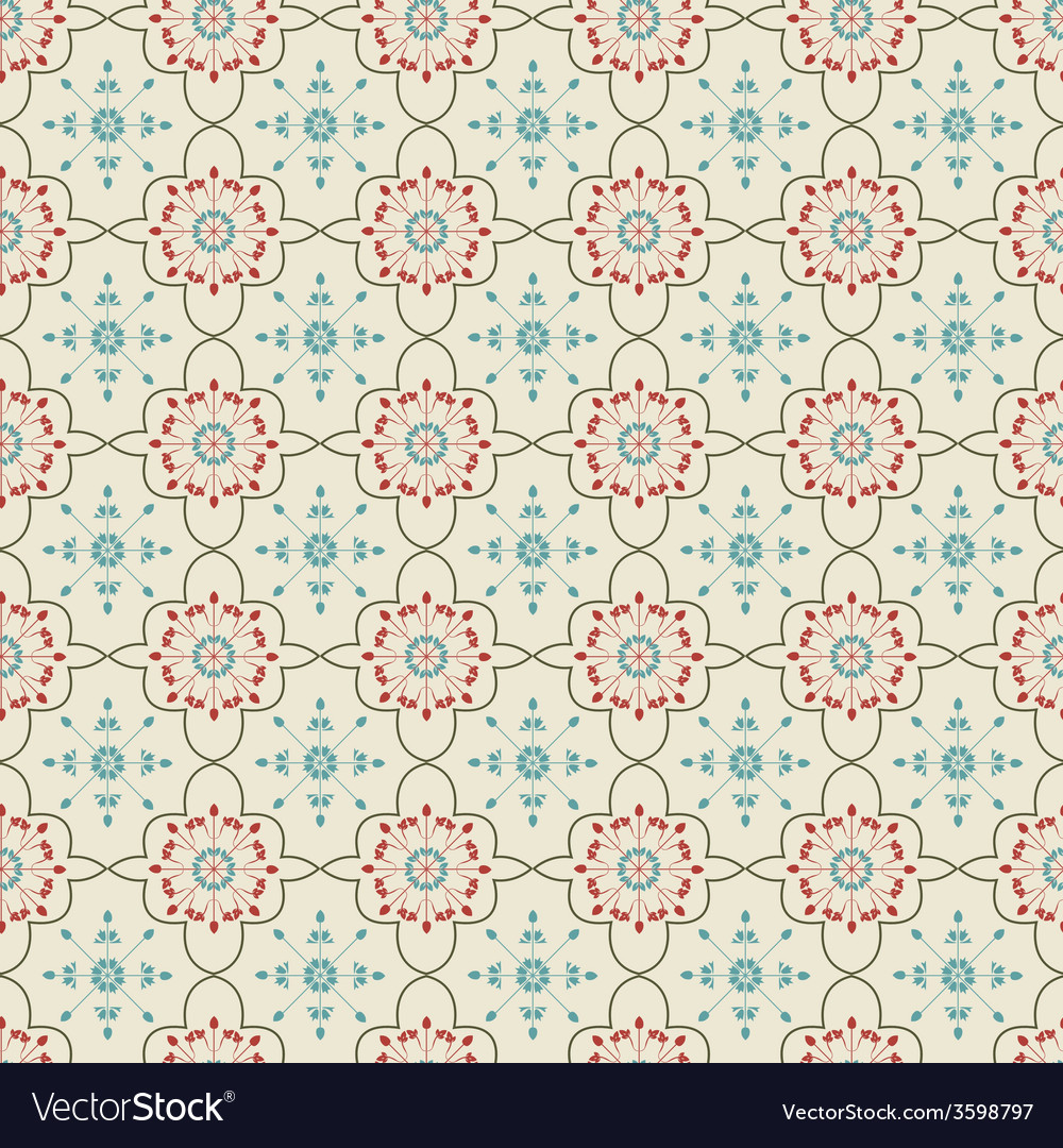 Floral background vintage style seamless pattern vector | Price: 1 Credit (USD $1)