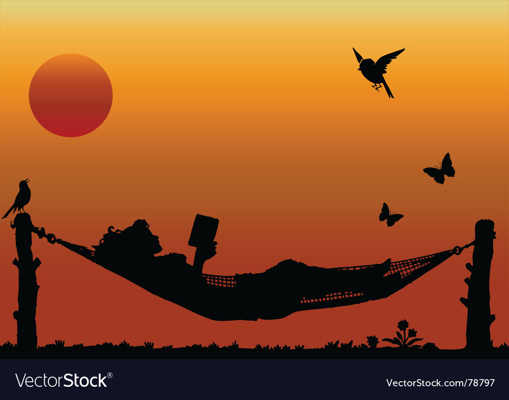 Hammock sun vector | Price: 1 Credit (USD $1)