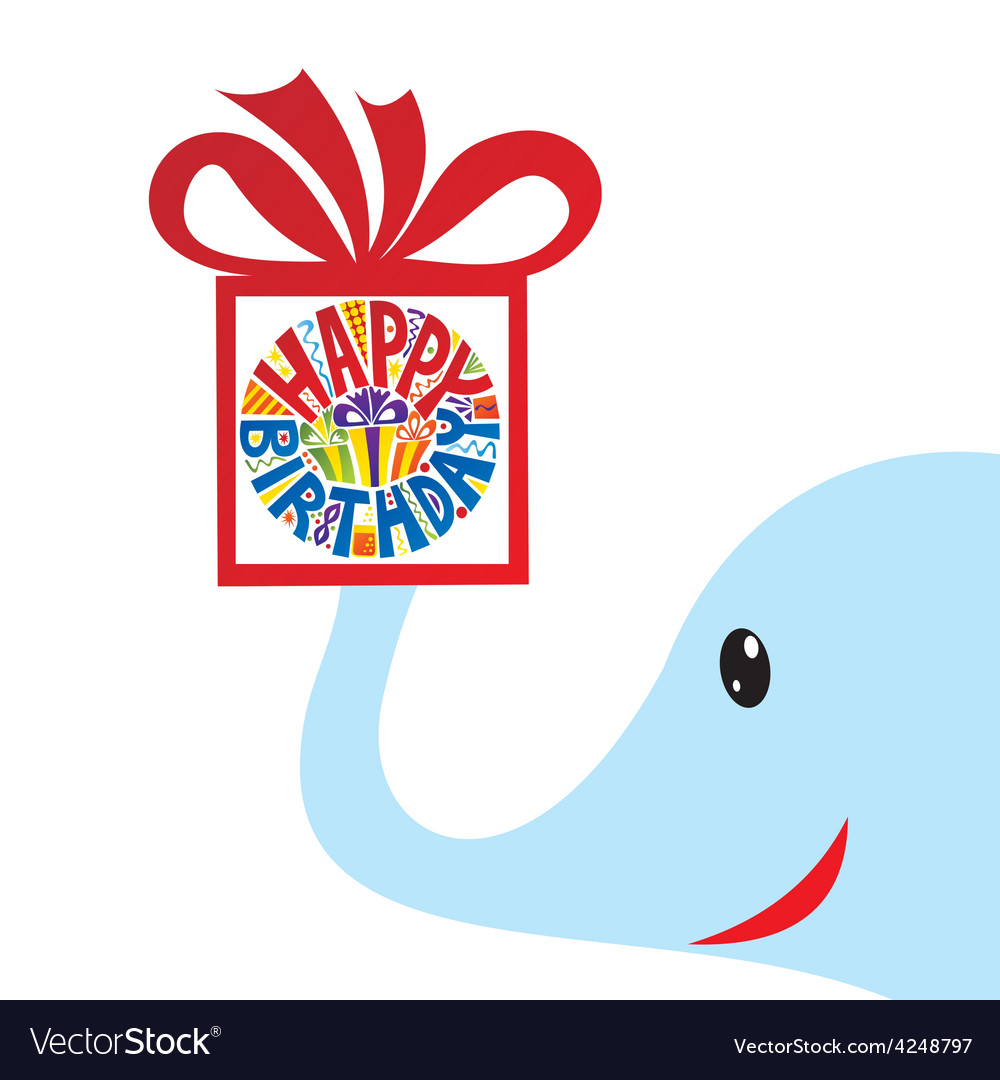 Happy birthday greeting card elephant with gift vector | Price: 1 Credit (USD $1)