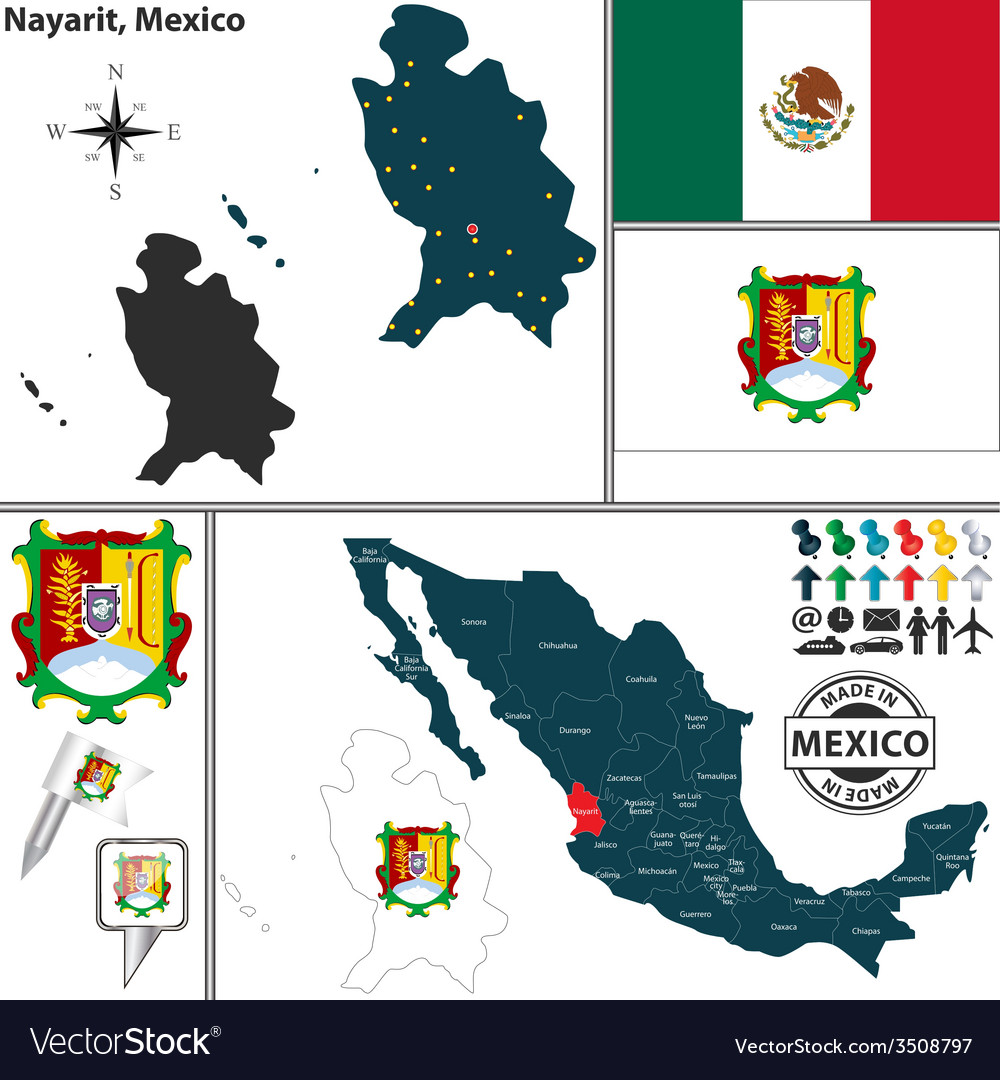 Map of nayarit vector | Price: 1 Credit (USD $1)