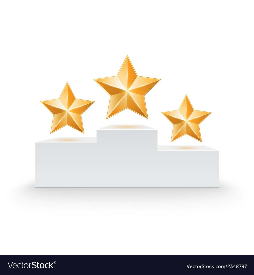 Pedestal with three stars vector | Price: 1 Credit (USD $1)
