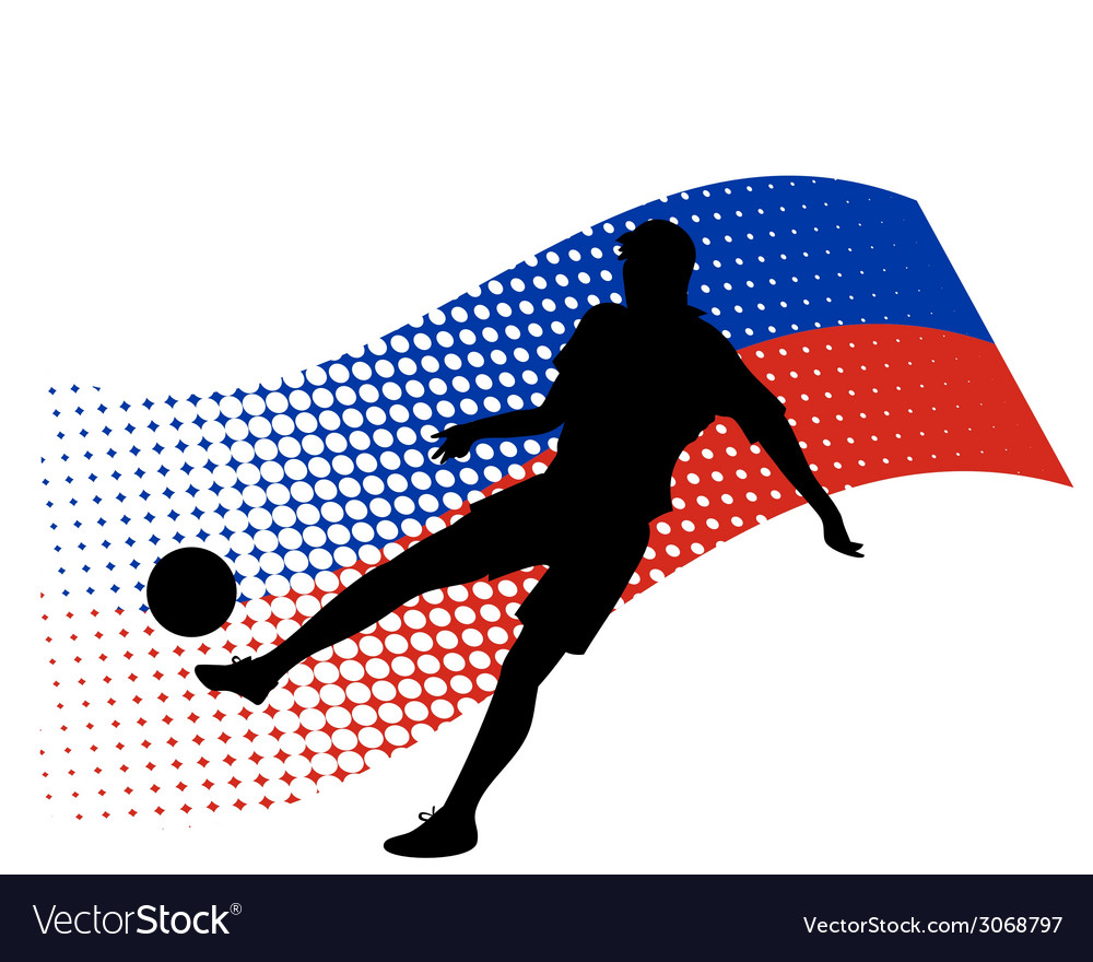 Russia soccer player against national flag vector | Price: 1 Credit (USD $1)