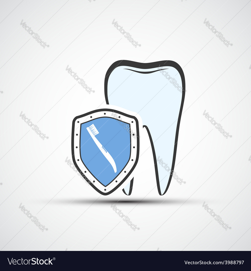 Shield with a human tooth and toothbrush vector | Price: 1 Credit (USD $1)