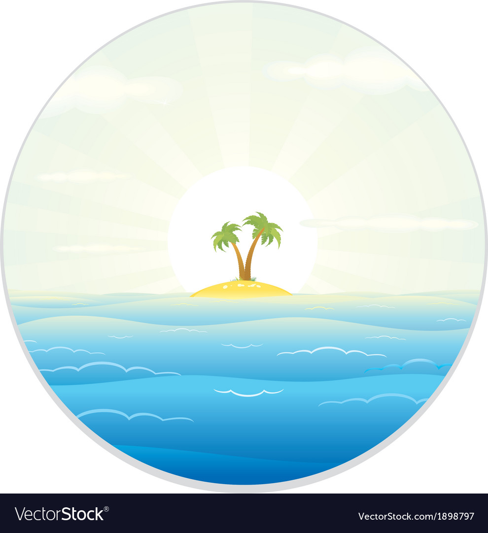 View of the tropic island from the field glass vector | Price: 1 Credit (USD $1)