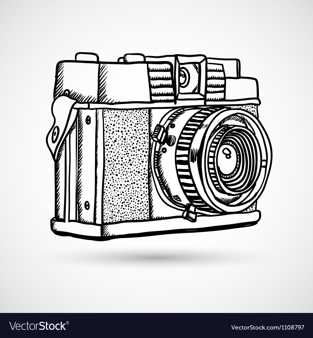 Vintage doodle camera hand-drawn vector | Price: 1 Credit (USD $1)
