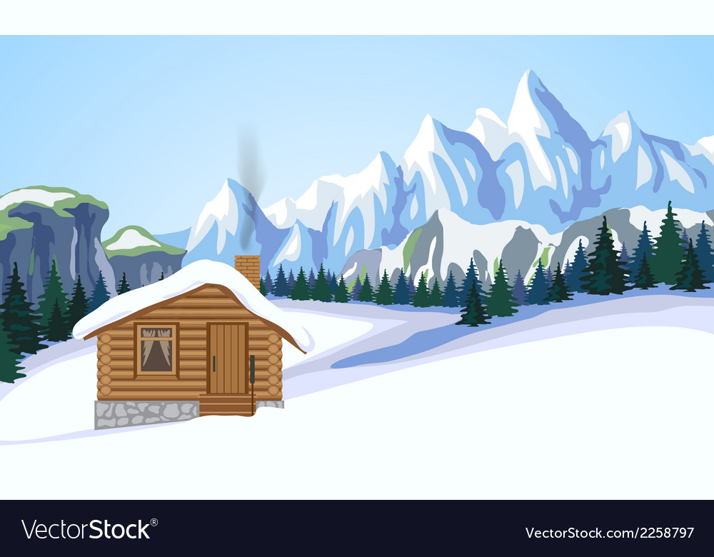 Winter mountain landscape with house vector | Price: 1 Credit (USD $1)