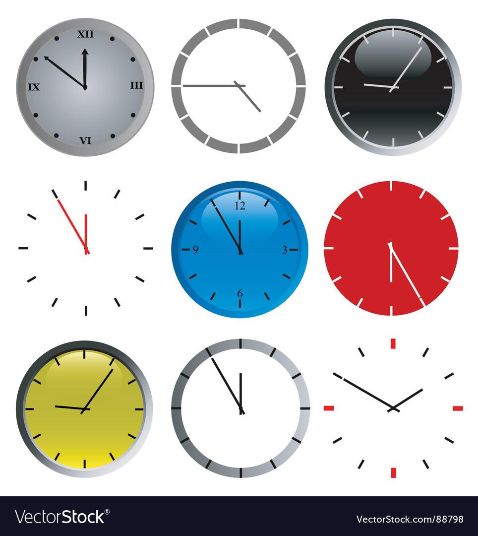Color wall clock vector | Price: 1 Credit (USD $1)