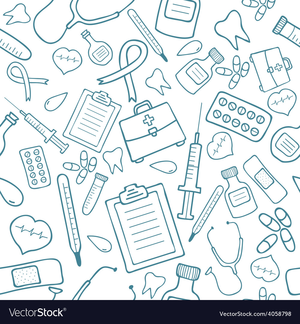 Medical seamless pattern in blue color vector | Price: 1 Credit (USD $1)