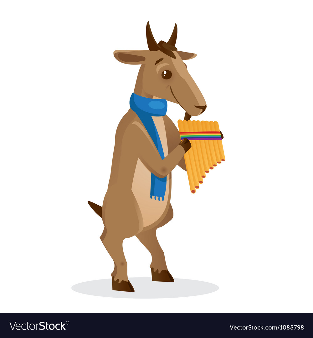Musical animals goat panflute vector | Price: 1 Credit (USD $1)