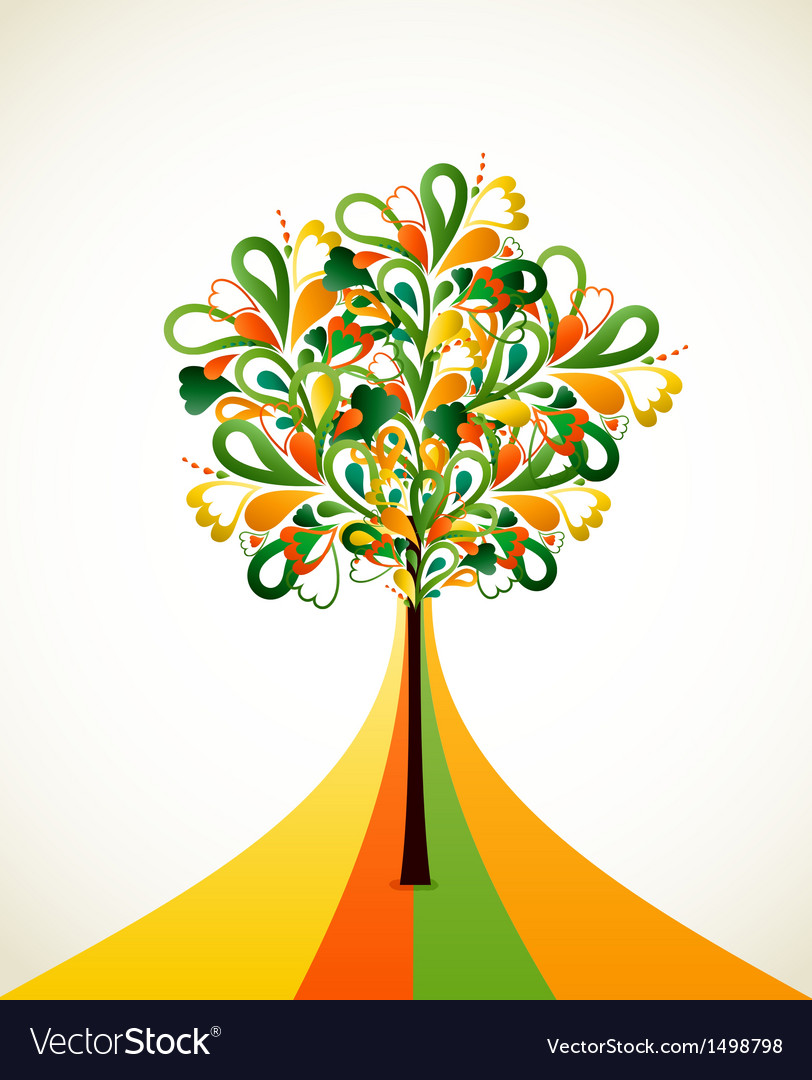 Painting abstract tree on colorful strips vector | Price: 1 Credit (USD $1)