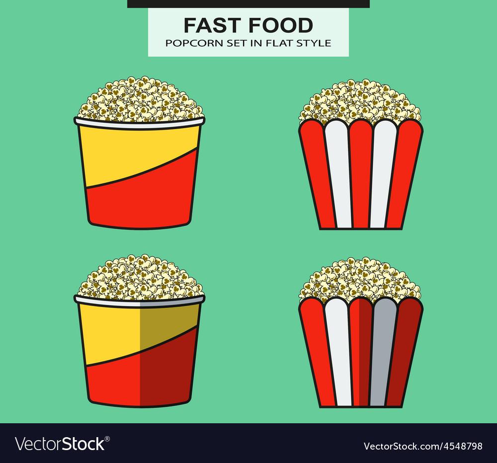 Popcorn set in flat style vector | Price: 1 Credit (USD $1)