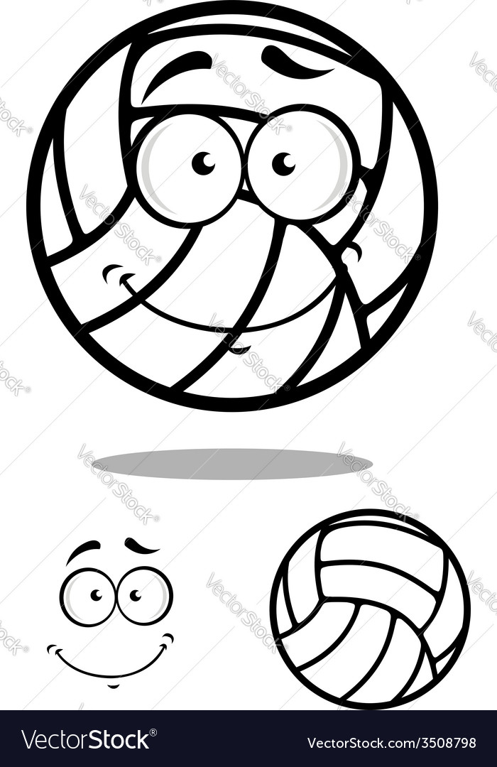 Shy volleyball ball character design elements vector | Price: 1 Credit (USD $1)
