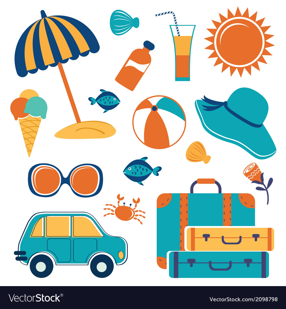 Summer vacation icons vector | Price: 1 Credit (USD $1)