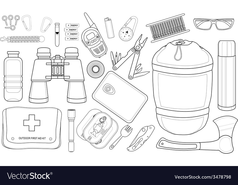 Survival set line-art vector | Price: 1 Credit (USD $1)